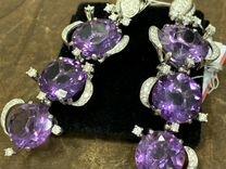 Пара серег аметисты и бриллианты