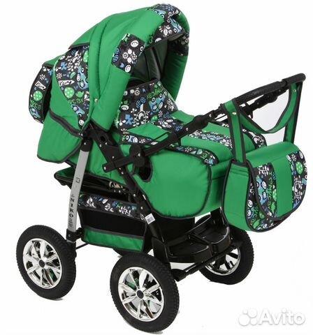 Салатовая детская коляска трансформер фото