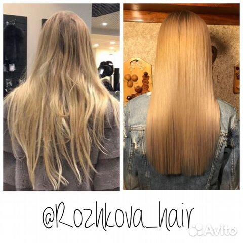 Волосы до и после выпрямления утюжком