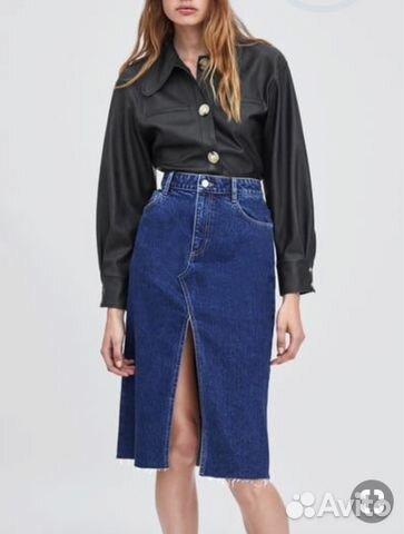 e4b5671be3c Zara джинсовая юбка миди карандаш черная купить в Москве на Avito ...