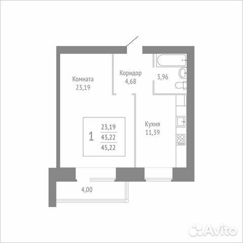 1-к квартира, 45.2 м², 9/14 эт. 89115506177 купить 1