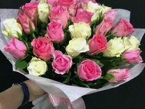 Цветы розы букет 25 роз