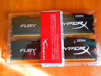 8GB Kingston hyperX fury 2шт. 4GB DDR4 2400mhz