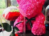 Мишка из роз Розовая 40см